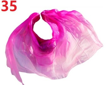 cheap dance veils,tari perut kostum veil,Size 270X90cm Rainbow colors real silk belly dance veil
