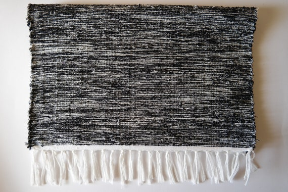 Set Of 2 Black And Silver Placemats Handmade Woven Etsy