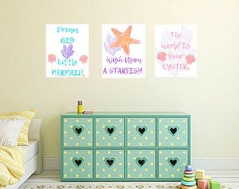 Mermaid Sea Ocean Starfish Water 3pc Nursery Baby Girl Quote Wall Art Digital Printable