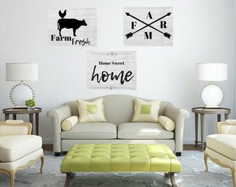 Farm Living Farmhouse Home 3pc Quote Wall Art Digital Printable