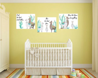 Llama Now We Have Everything 3pc Nursery Baby Boy Girl Cactus Quote Wall Art Digital Printable