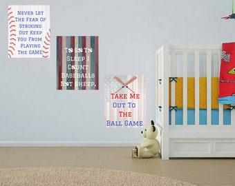 Take Me Out To The Ball Game Baseball 3pc Nursery Baby Boy Quote Wall Art Digital Printable