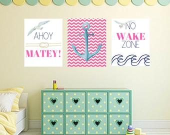 Nautical Ocean Pirate Water 3pc Nursery Baby Girl Quote Wall Art Digital Printable