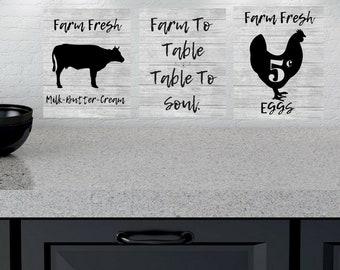 Farm Living Farmhouse KitchenHome 3pc Quote Wall Art Digital Printable