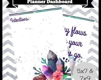 Digital Printable Intention Setting Watercolor Gemstone Planner Dashboard 5x7 & 7x9 Life Happy Travel