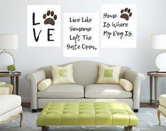 Dog Love Home Rescue Animal Lover Paw Print 3pc Quote Wall Art Digital Printable