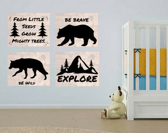 Wild Forest Explore Bear Wolf Nature 4pc Nursery Baby Boy Quote Wall Art Digital Printable