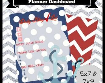Digital Printable Nautical Red Blue Blog Checklist Planner Dashboard 5x7 & 7x9 Life Happy Travel