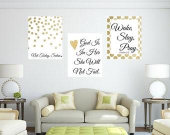Wake Slay Pray Christian Religious Gold 3pc Office Motivation Quote Wall Art Digital Printable