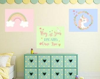 Rainbow Unicorn Magical Magic 3pc Nursery Baby Girl Quote Wall Art Digital Printable