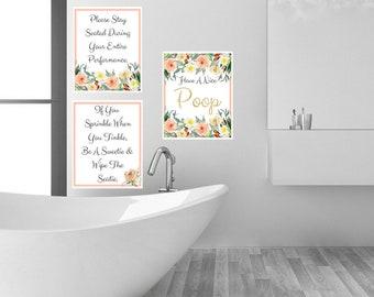 Have A Nice Poop Humor Bathroom Washroom Restroom 3pc Quote Wall Art Digital Printable