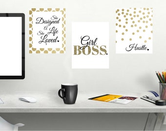 Girl Boss Hustle Gold 3pc Office Motivation Quote Wall Art Digital Printable