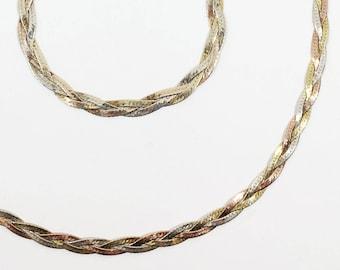 Sterling Silver Braided Jewelry Set, Vintage 1990s Karizia Bracelet and Necklace
