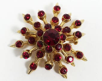 Red Rhinestone Atomic Brooch Vintage 1950s Snowflake Style Tiered Rhinestones for Jewelry Making Recycle Repurpose