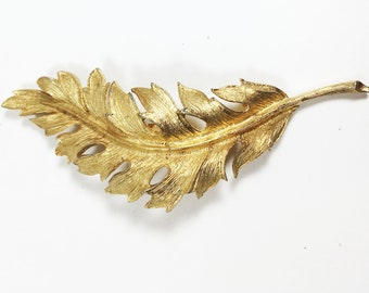 Coro 1961 Gold Tone Leaf Pin Vintage Mid Century Designer Signed Brooch