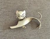 Beaucraft Sterling Silver Cat Pin Pop Art Modern Art Figural Kitty Brooch Collectible Gift for the Beau Collector