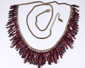 Coldwater Creek Bead Necklace Large Cranberry Red Statement Vintage 1990s Long 36 Inch Boho Southwestern Hippie Beaded Accessory Designer