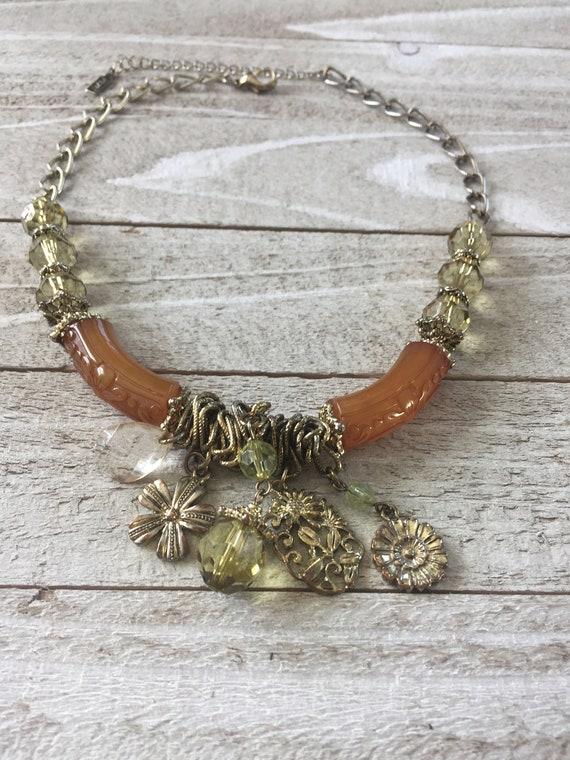 Vintage Gold Tone Interlocking Ring Bib Choker Necklace