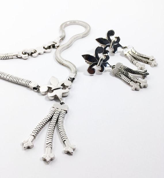 Monet Fleur De Lis Jewelry Set Demi Parure Silver Tone Pendant Etsy
