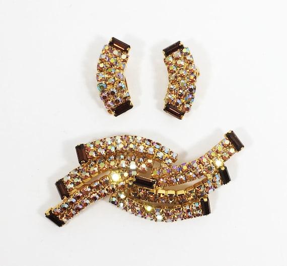 Vintage 1960/'s Flower Brooch /& Earring Set Brown Enamel Pin with Clip Earrings and Orange Rhinestones