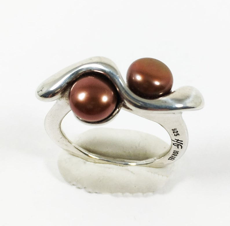 Sterling Silver Double Pearl Ring Signed 925 HG Israel Brown Cultured Pearls Vintage 1990s Size 5 34 Modernist Israeli Silver Abstract