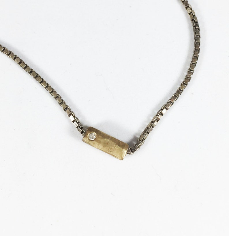 37525d5a4 Saundra Messenger 14K Gold Sterling Silver Diamond Cubist | Etsy
