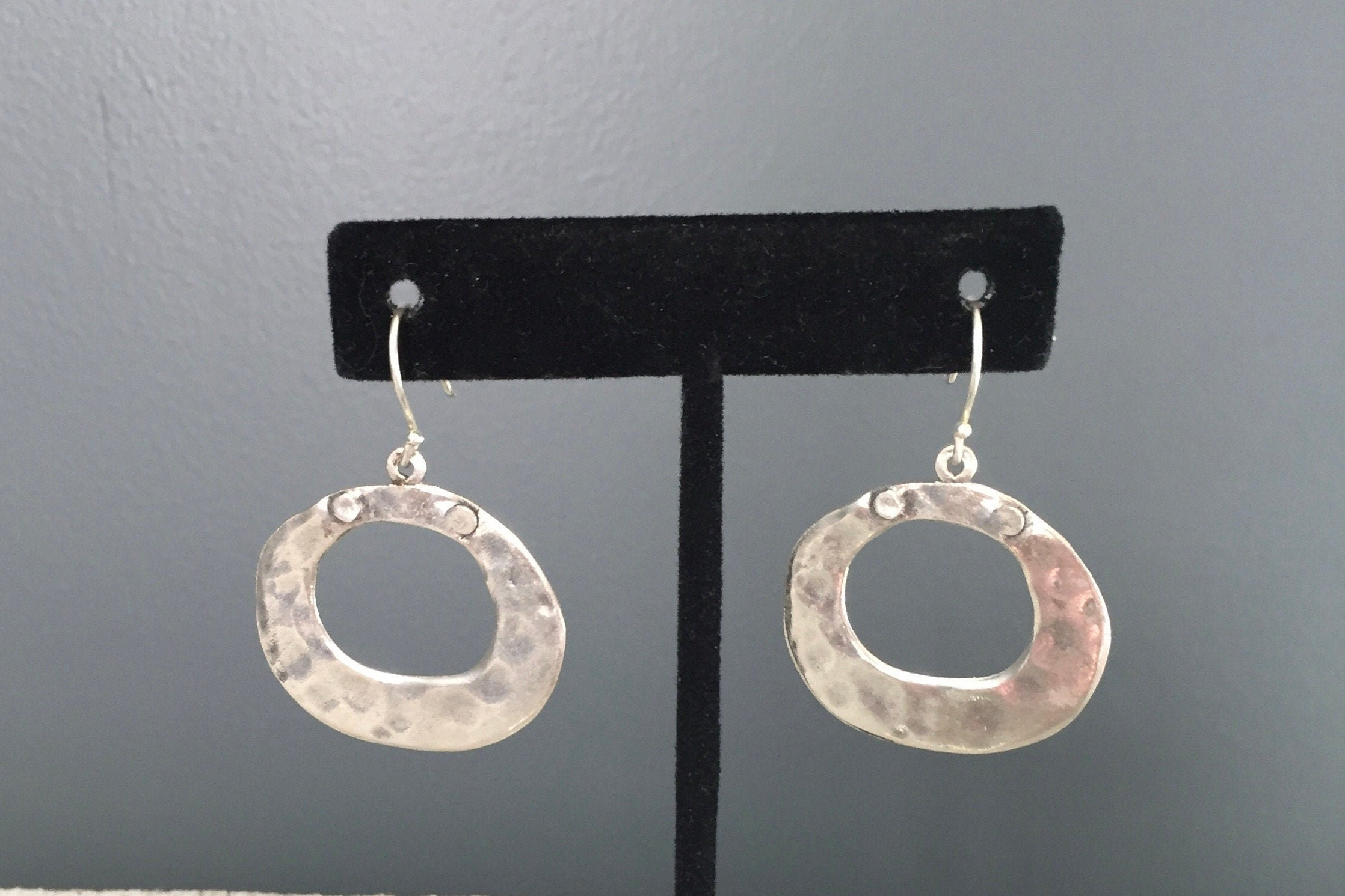 """Dangle Earrings  38mm 1.1//2/"""" 925 Sterling Silver Spiral Hammered Finish Drop"""