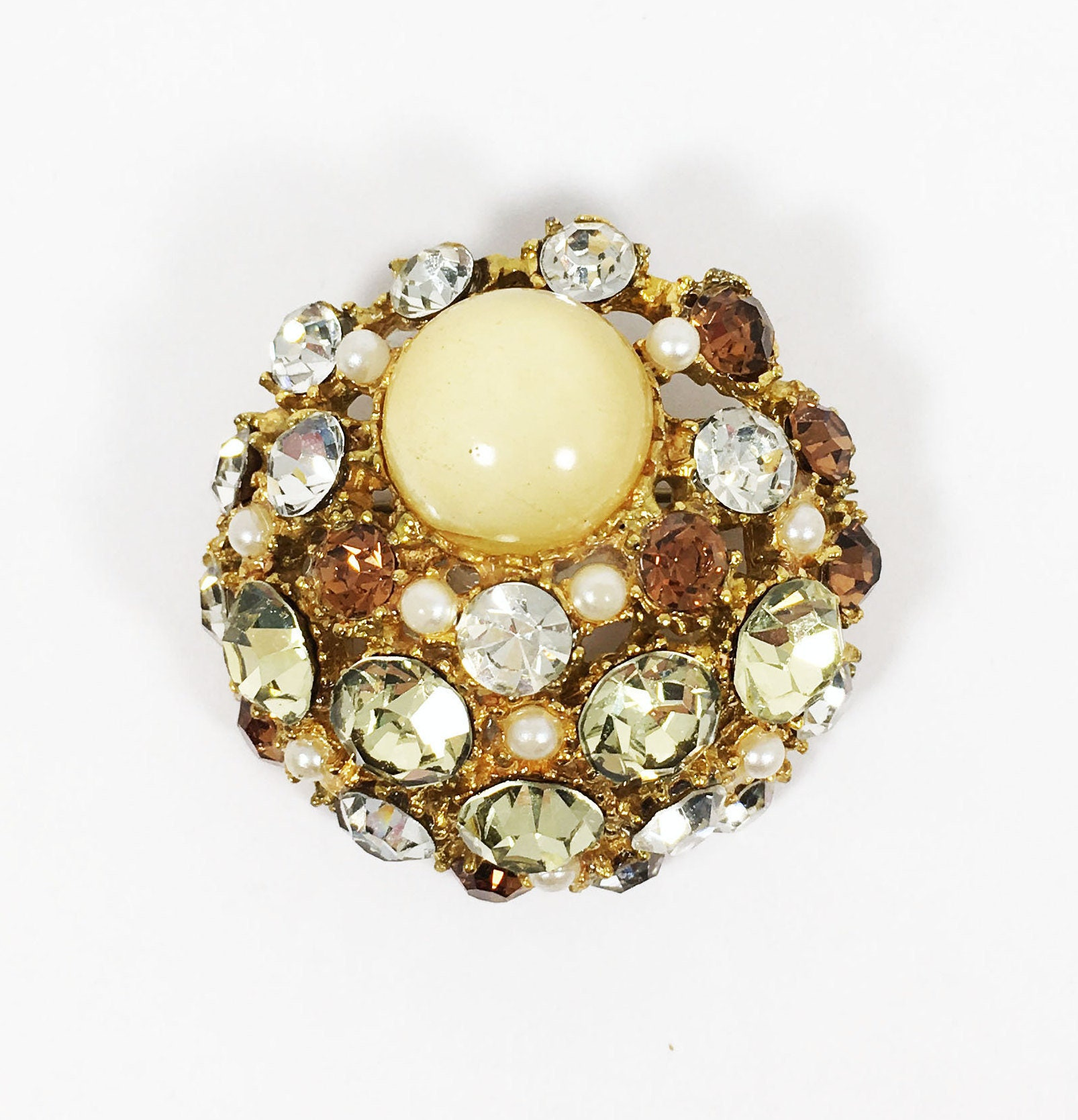 Small Vintage Pin Round Key Shape White Rhinestones in Silver Toned Setting from 1970/'s