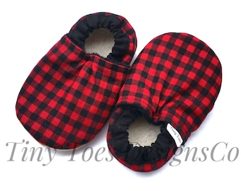 plaid baby shoes, buffalo plaid booties, baby boy booties, cloth baby shoes, baby crib shoes, plaid booties, plaid baby boy shoes, infant