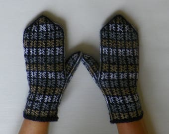 Patterned mittens Knitting mittens Wool mittens   Warmers Black mittens Wool mittens Gift for her Knitted mittens Knit mittens Hand knit