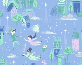 Neverland Main in Purple (Periwinkle) by Jill Howarth for Riley Blake Designs Fabric Collection Premium Quilting Fabric