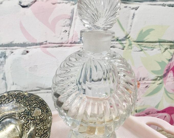 "Vintage Perfume Bottle, Cut Crystal Shell Design, 6.5 "" Tall Perfume Bottle, Vintage Vanity Accessories"