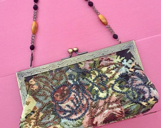 Vintage Tapestry Handbag with Beaded Strap,Vintage Paisley Beaded Purse, Mid Century Tapestry Bag, Mid Century Handbag