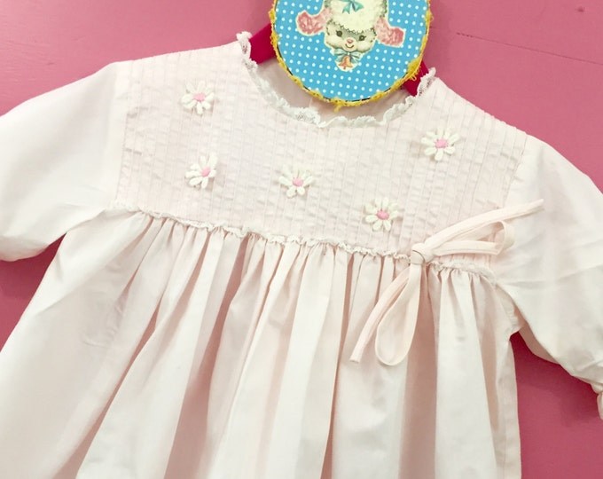 Vintage Baby Girl Lord and Taylor Pink Dress, 18 month Baby Girl Dress, Vintage Easter Dress, Vintage Summer Dress, Daisy Embroidery Dress
