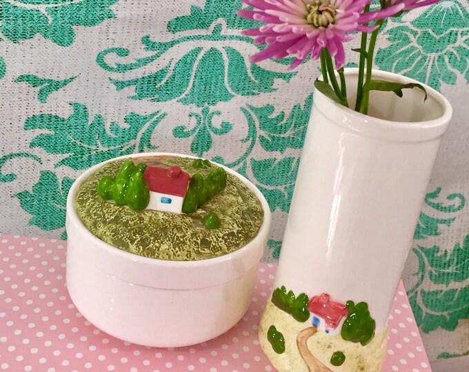 Vintage 1980s Ceramic Vase and Dish Set, Cottage Chic Home Decor, LVC 1984 Japanese Kitschy Ceramic Decor, Pink and Green Bedroom Decor