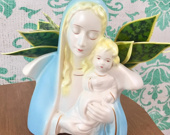 Vintage Madonna Planter, Blessed Mother Mary with Child Planter, Mary Religious Ceramic, Easter gift, Vintage Easter Decor