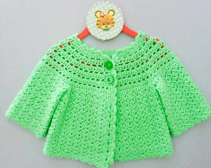 Vintage Baby Cardigan, Green Baby Sweater, Vintage Child Sweater, 3-6 months Baby Sweater, Green Handmade Baby Sweater