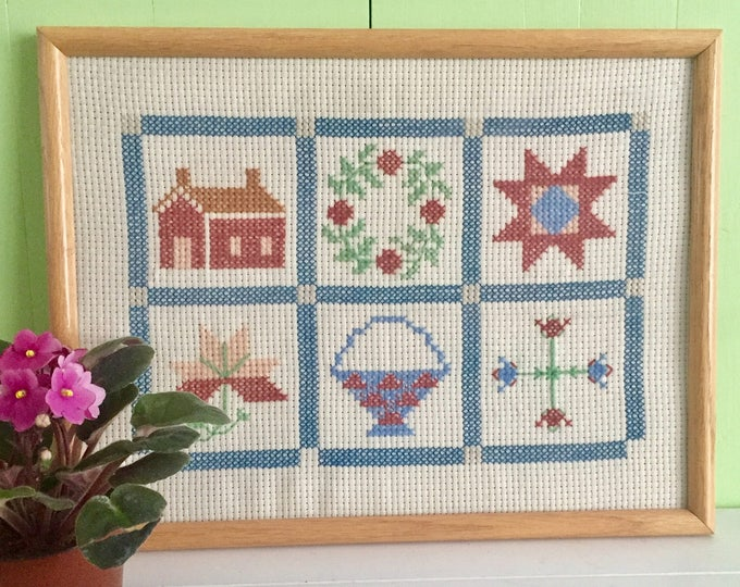 Vintage Framed Needlepoint, Glass Framed Crewel Cross Stitch, Linen Embroidery Framed Wall Hanging, Cottage Chic Decor