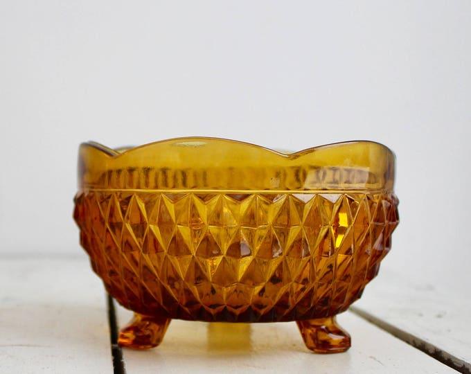 Vintage Amber Footed Hobnail Dish, Vintage Amber Glass Candy Dish, Vintage Amber Display Dish