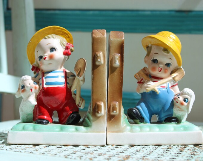 Vintage Children's Bookends, Kitschy Bookends, Kitschy Nursery Decor, Vintage Children's Bedroom Decor, 1950's Children's Bookends