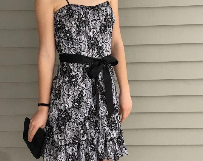 Vintage Black and White Satin Dress, Women's Size Medium, Vintage Black and White Dress, Vintage Prom Dress, Vintage Bridesmaid's Dress