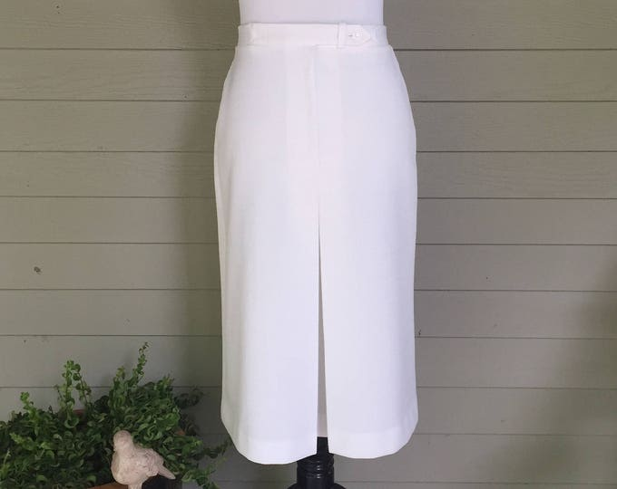 Vintage 1960s White A-Line Midi-Skirt, Womens Size 2, Personal Brand Leslie Faye, Vintage White Skirt