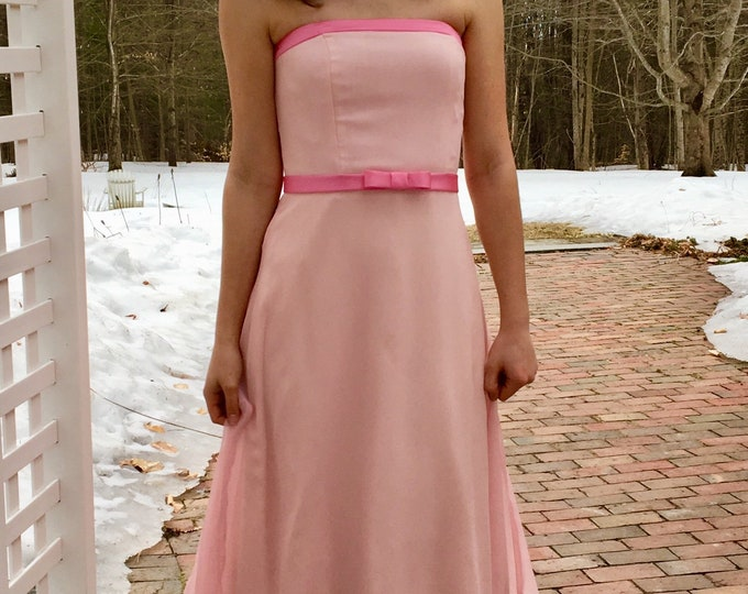 Vintage Bari-Jay Dress, Women's Size 2, Vintage Pink Midi Prom Dress, Vintage Pink Midi-length Bridesmaids Dress, Vintage Pink A-Line Dress