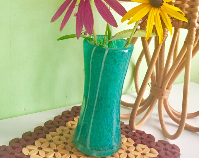 Vintage Mid Century Modern Glass Vase, Mod Blue Art Glass Vase, Vintage Modern Blue Glass Vase
