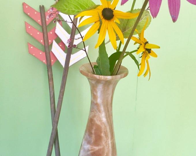 Vintage Alabaster Vase, Tall Brown Alabaster Vase, Marbled Vase, Boho Chic Vase, Bohemian Home Decor