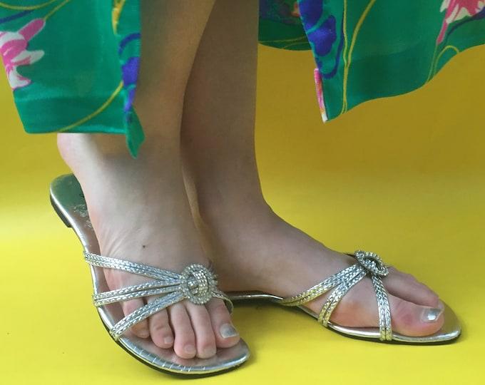 Vintage Silver Sandals, Women's Size 7, Vintage Silver Flip Flops, Vintage Jeweled Sandals, Vintage Beach Shoes