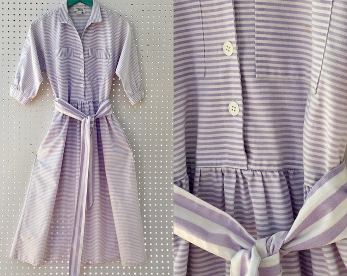 Vintage 1950s Lanz Originals Dress, Size XS, 1950s Shirt Dress, Vintage Shirt Dress, 1950s Belted Dress, 1950s Striped Dress