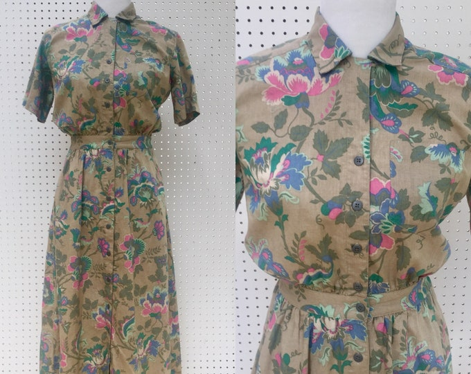 Vintage Eddie Bauer Dress, Women's Size XS Petite, Vintage Shirt Dress, Vintage Midi-Dress, Vintage Professional Dress