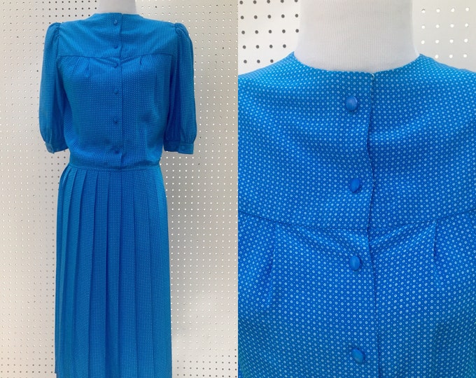 Vintage Business Casual Dress, Women's Size 6, Retro Business Dress, Blue Vintage Dress, Vintage Blue Short Sleeved Dress