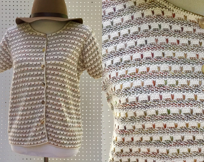 Vintage Sweater, Women's Size Large, Vintage Cardigan Sweater, Vintage Boho Short Sleeve Cardigan, Vintage Ivory Patterned Sweater